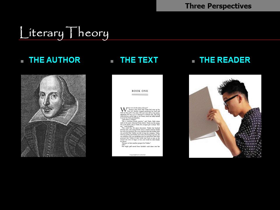 Literary Theory THE AUTHOR THE TEXT THE READER Three Perspectives