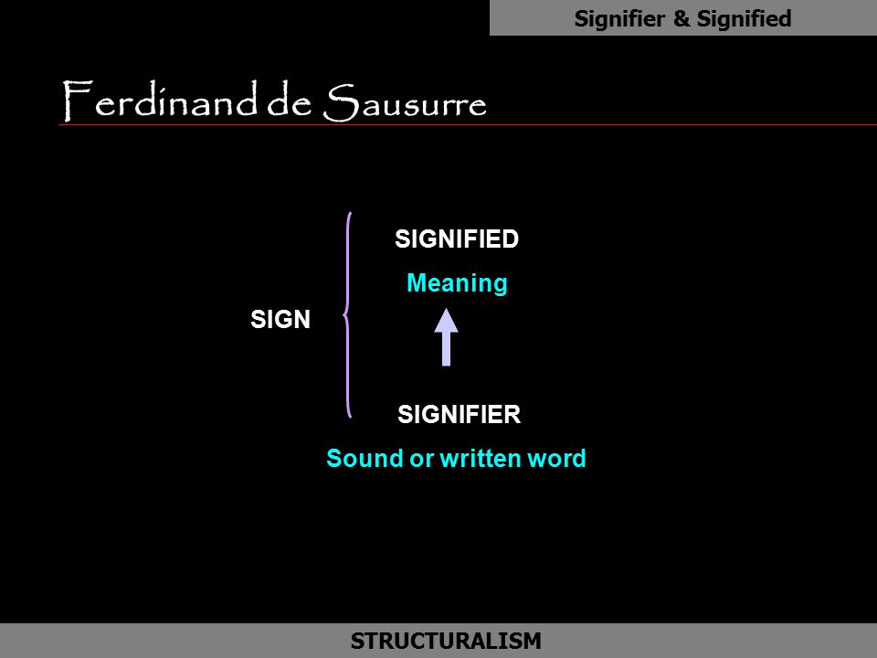 Ferdinand de Sausurre as SIGNIFIED Meaning SIGNIFIER