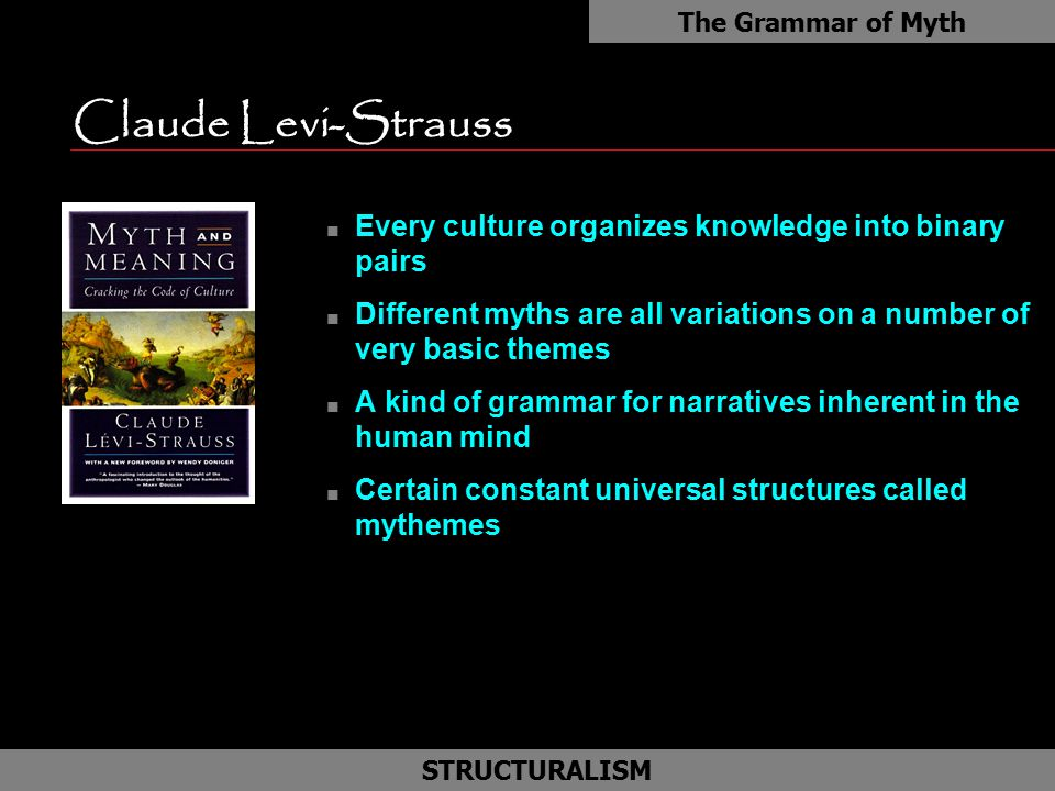 The Grammar of Myth Claude Levi-Strauss. Every culture organizes knowledge into binary pairs.