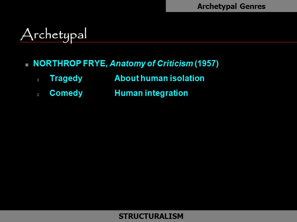 Archetypal as NORTHROP FRYE, Anatomy of Criticism (1957)