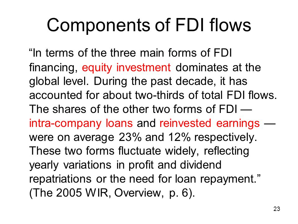 Components of FDI flows