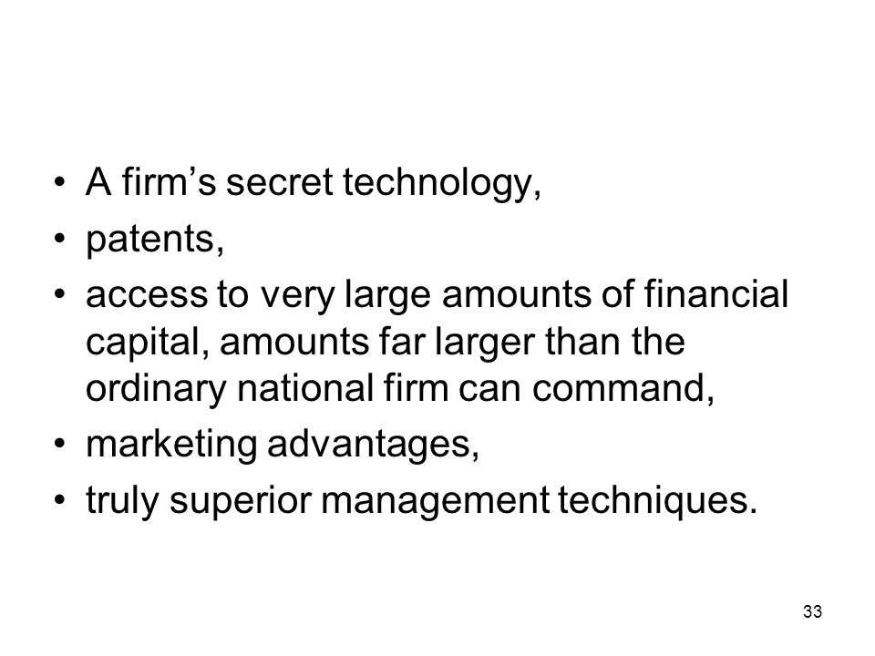 A firm's secret technology, patents,