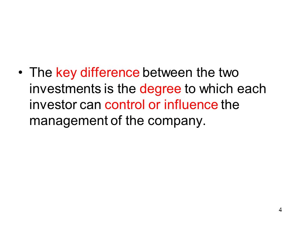 The key difference between the two investments is the degree to which each investor can control or influence the management of the company.