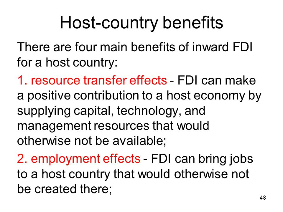 Host-country benefits