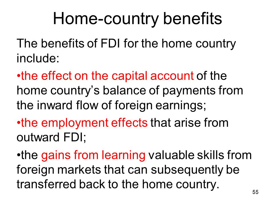 Home-country benefits
