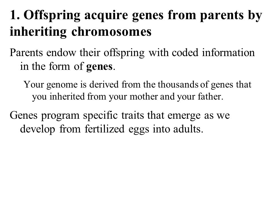 1. Offspring acquire genes from parents by inheriting chromosomes