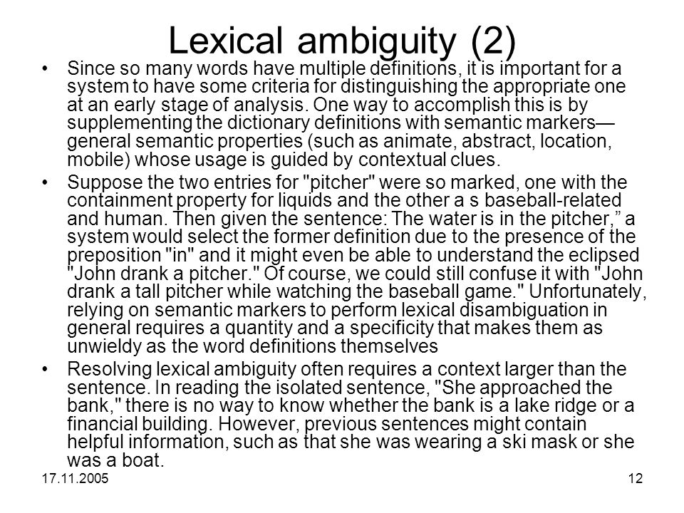 Lexical ambiguity (2)