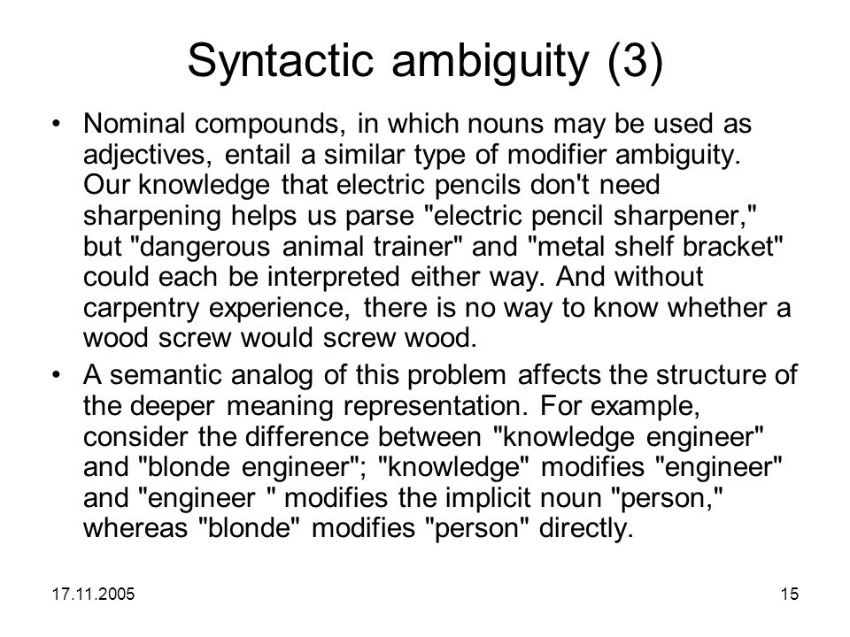 Syntactic ambiguity (3)