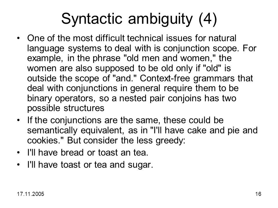 Syntactic ambiguity (4)