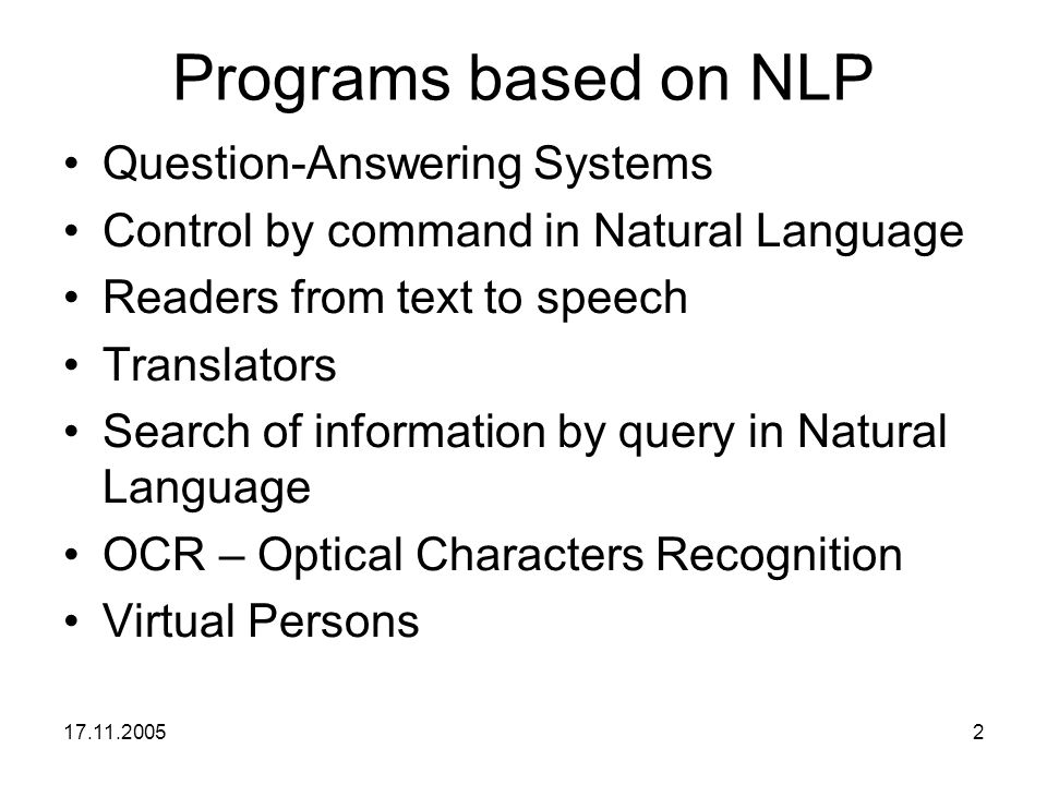 Programs based on NLP Question-Answering Systems