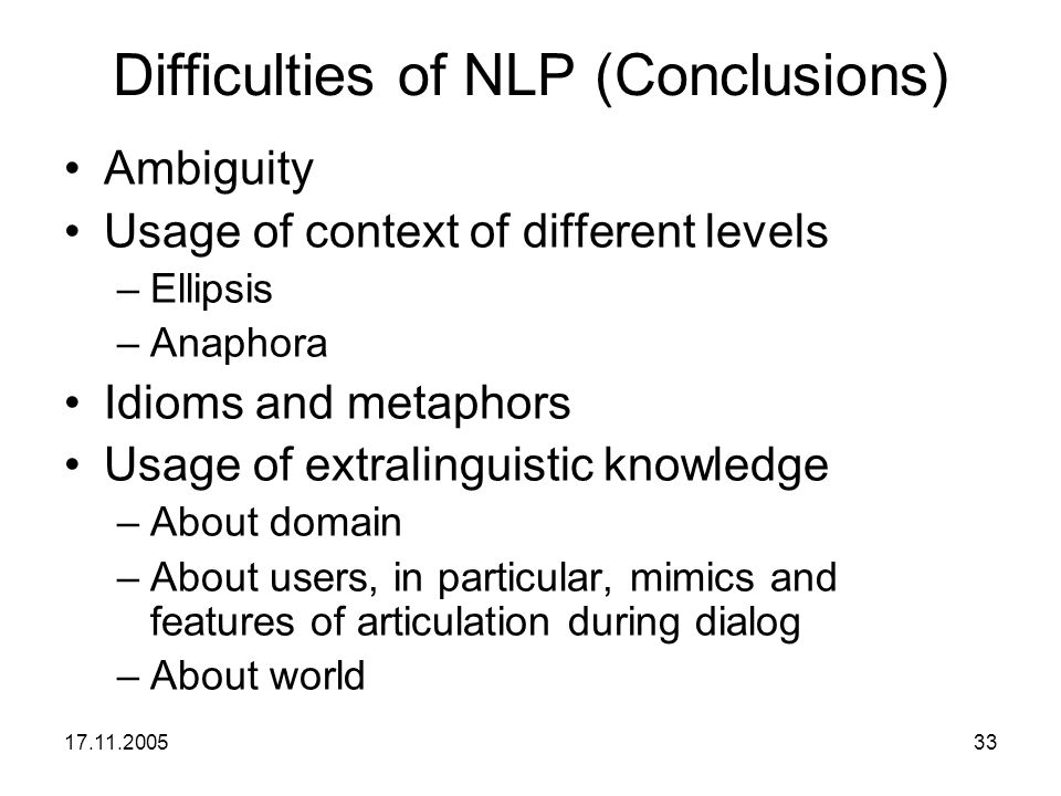 Difficulties of NLP (Conclusions)