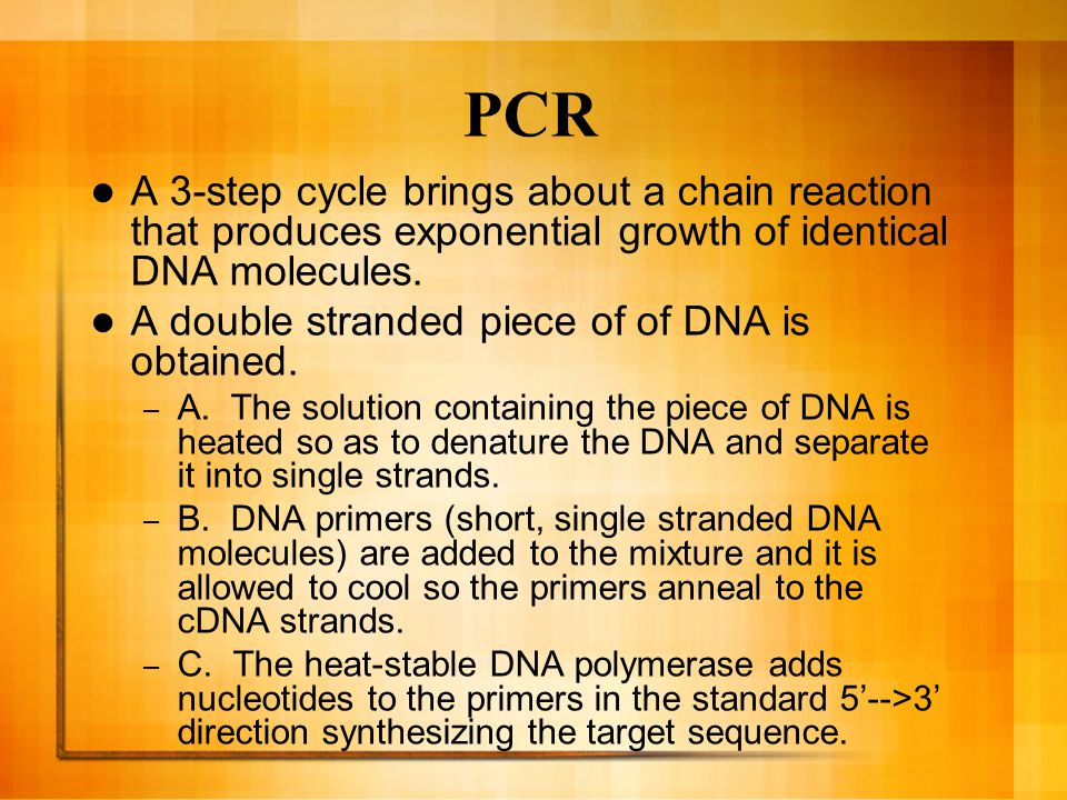 PCR A 3-step cycle brings about a chain reaction that produces exponential growth of identical DNA molecules.