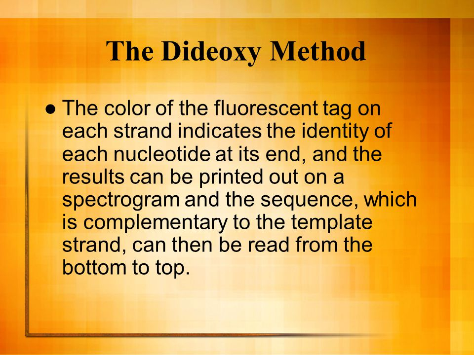 The Dideoxy Method