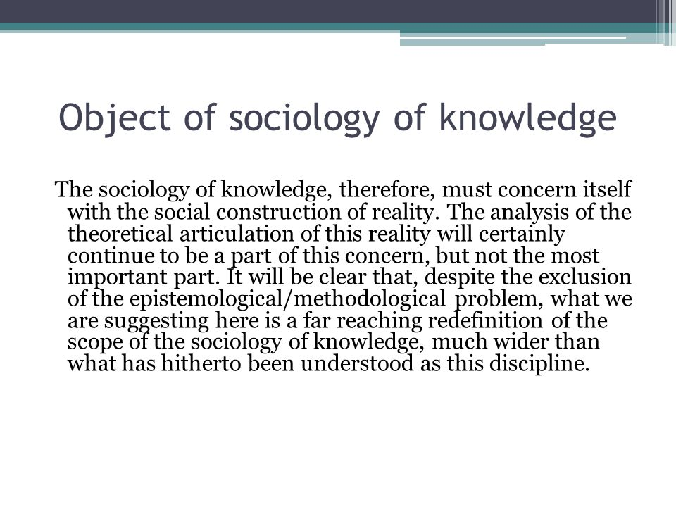Object of sociology of knowledge