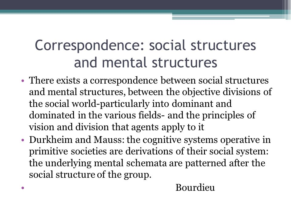 Correspondence: social structures and mental structures