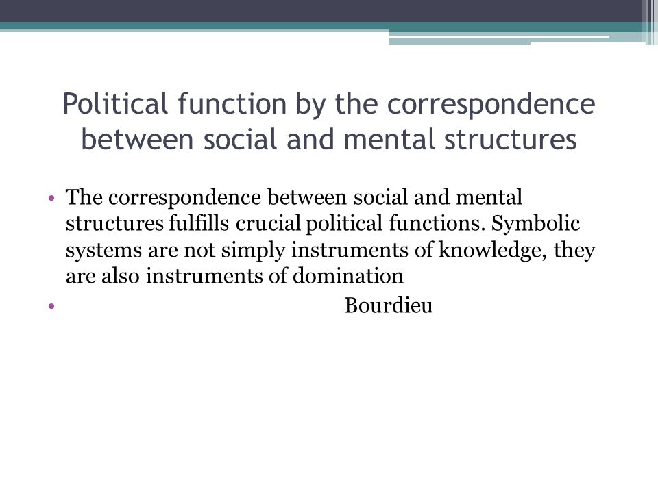 Political function by the correspondence between social and mental structures