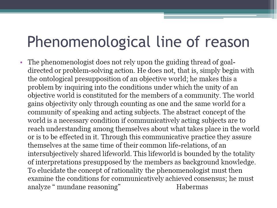 Phenomenological line of reason