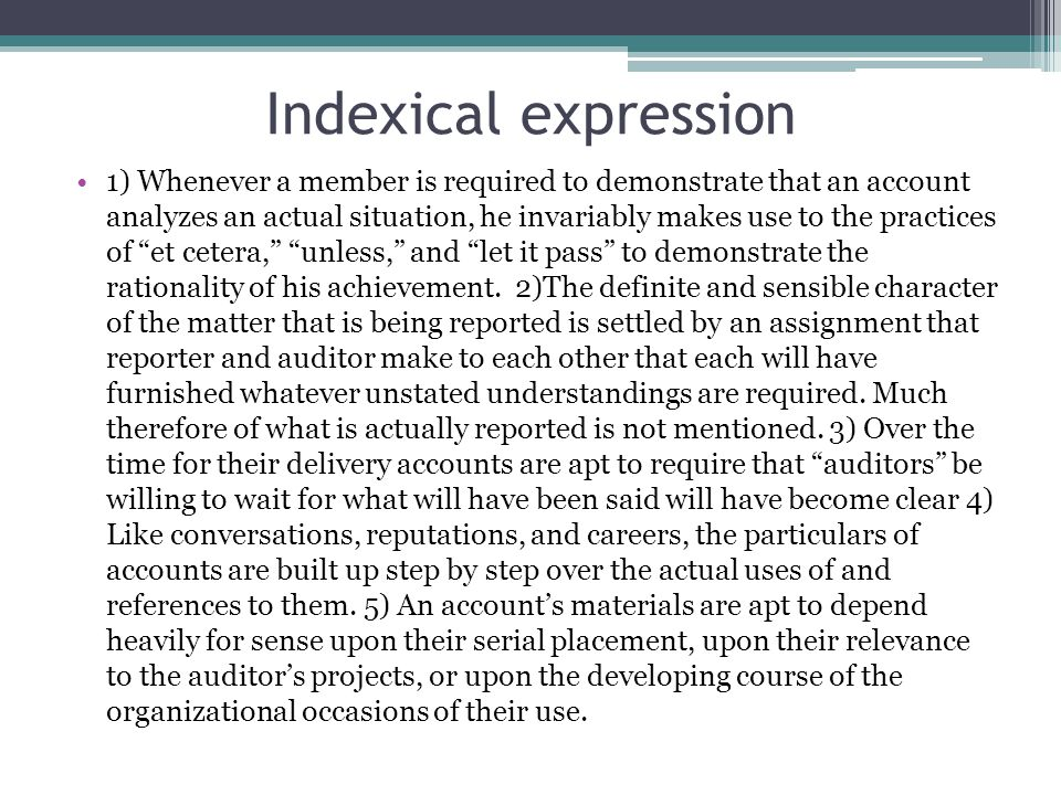 Indexical expression