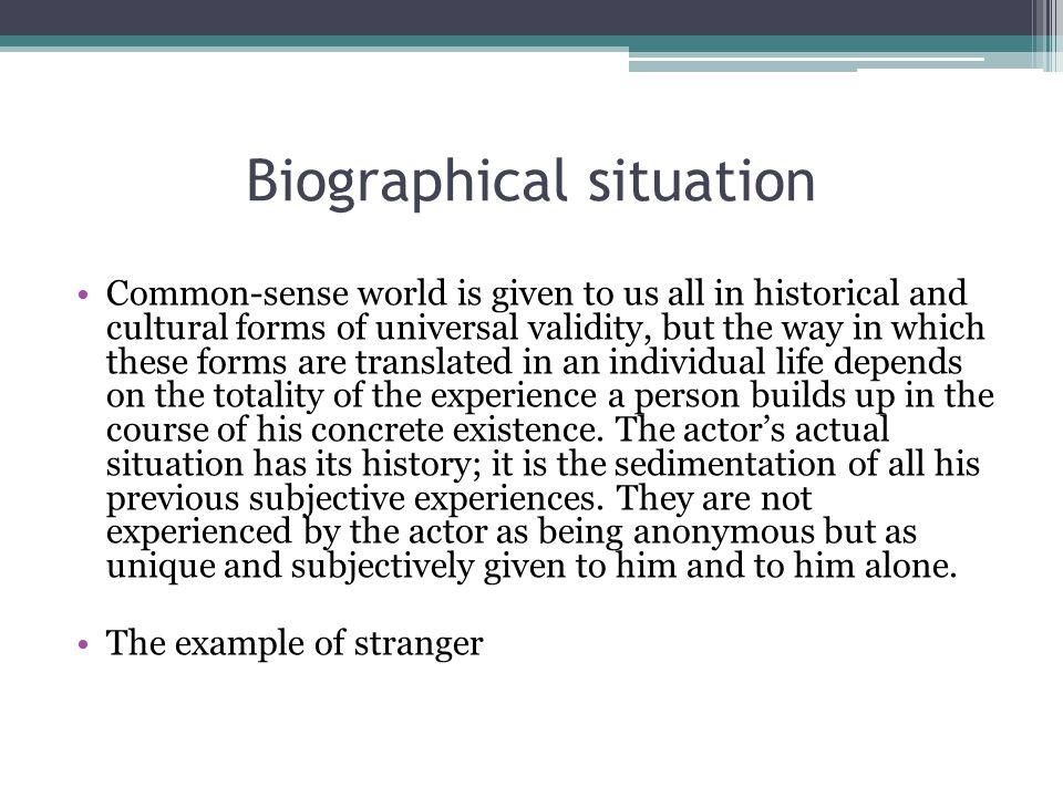 Biographical situation