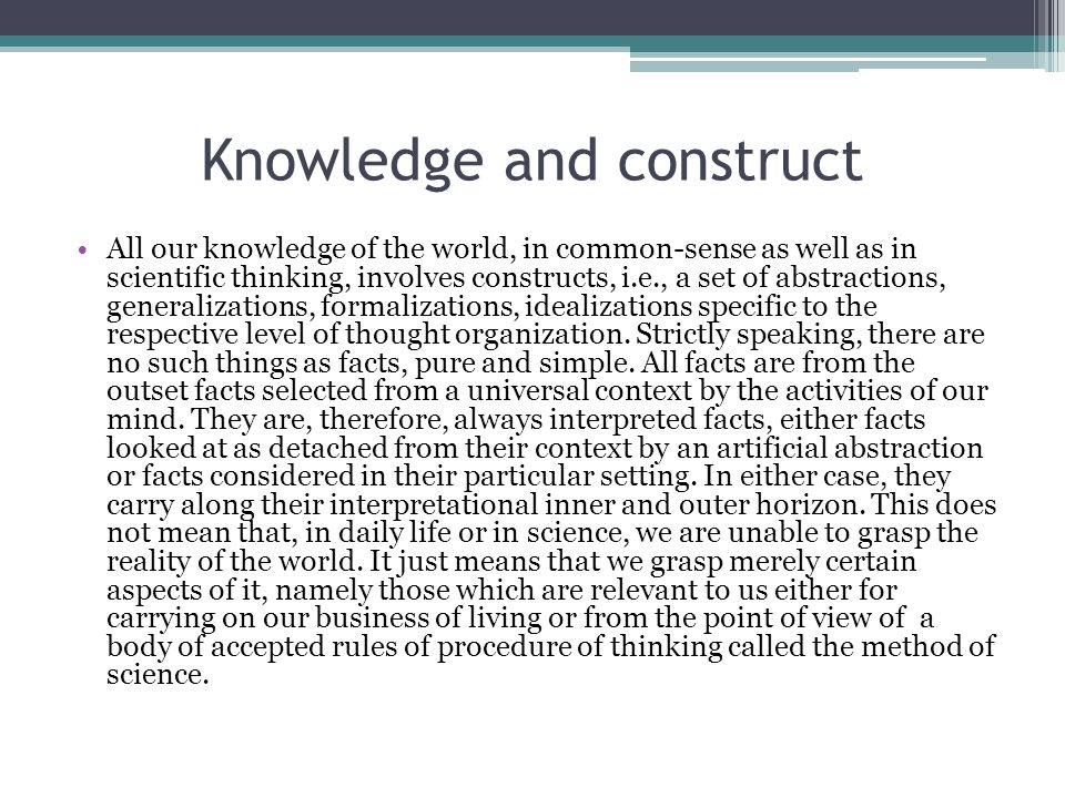 Knowledge and construct