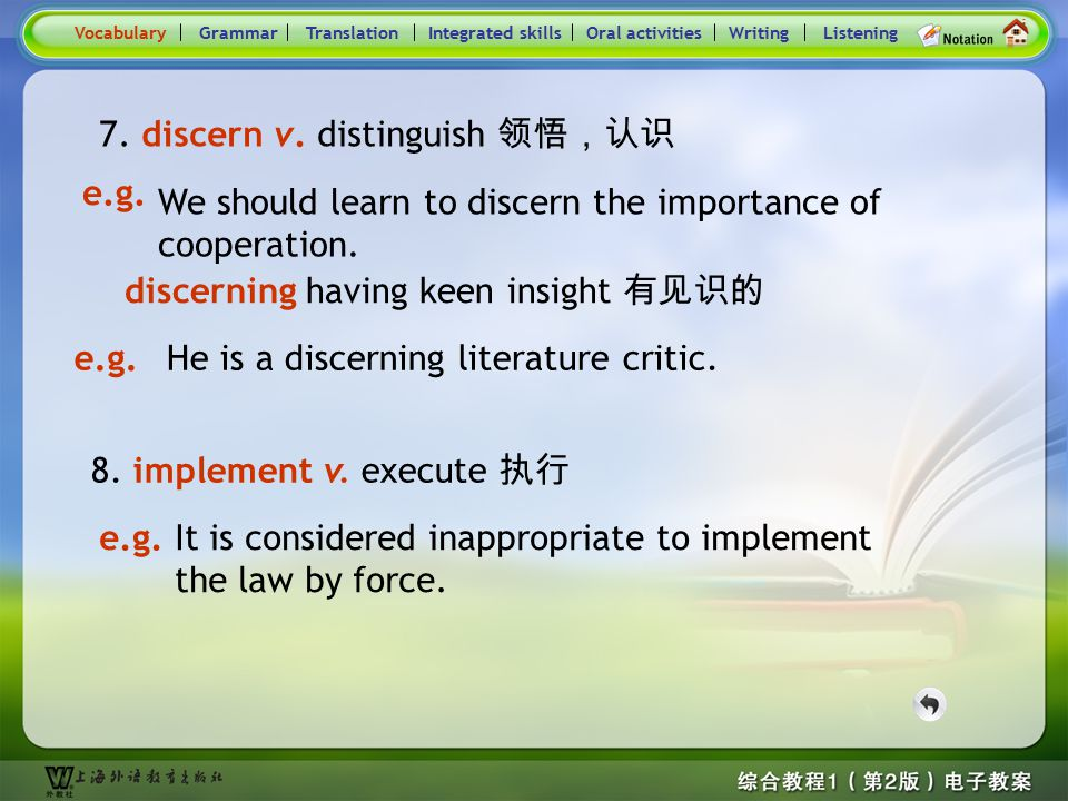 Consolidation Activities- Word derivation- discern \ implement