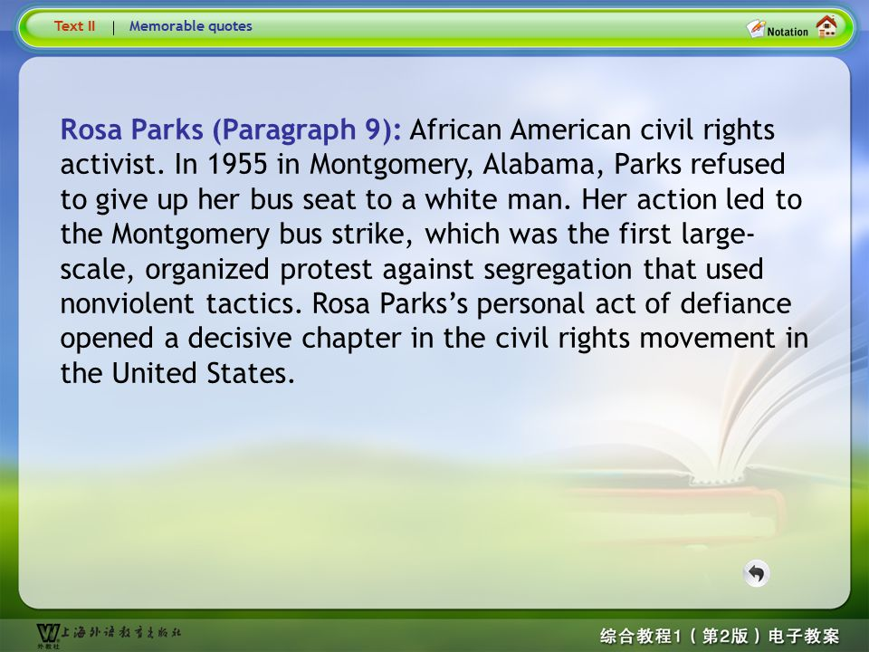 Text5 - Rosa Parks Text II. Memorable quotes.