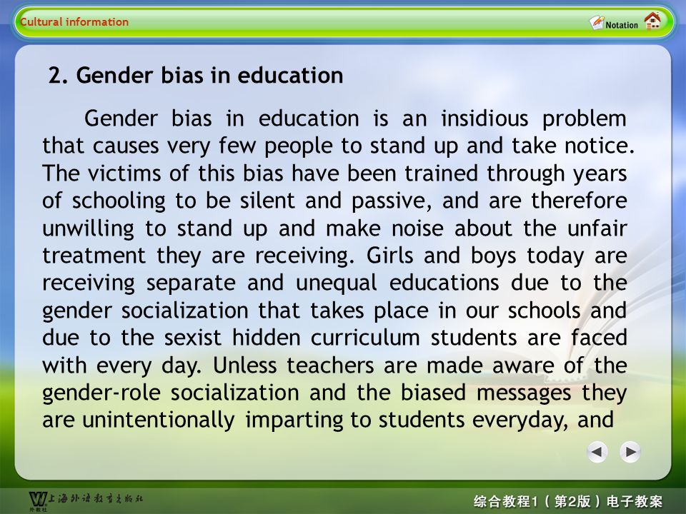 Cultural information 2 2. Gender bias in education