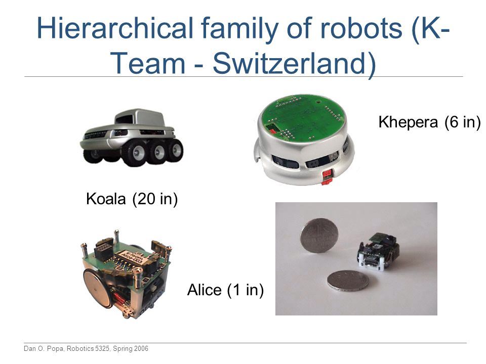 Hierarchical family of robots (K-Team - Switzerland)