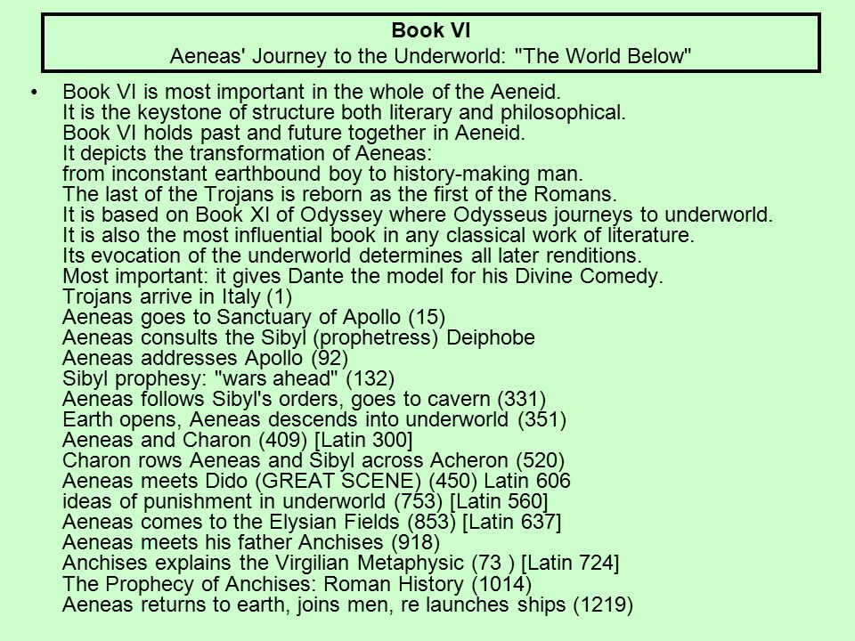 Book VI Aeneas Journey to the Underworld: The World Below