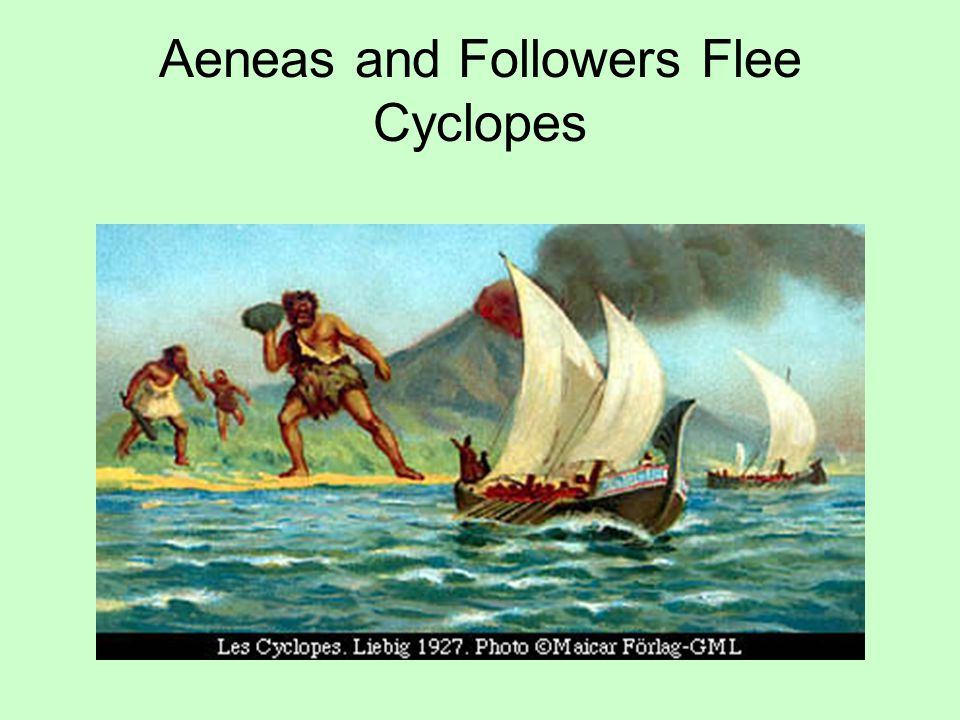 Aeneas and Followers Flee Cyclopes