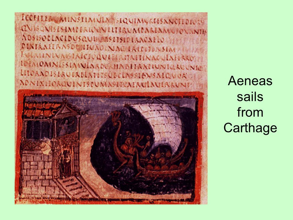 Aeneas sails from Carthage