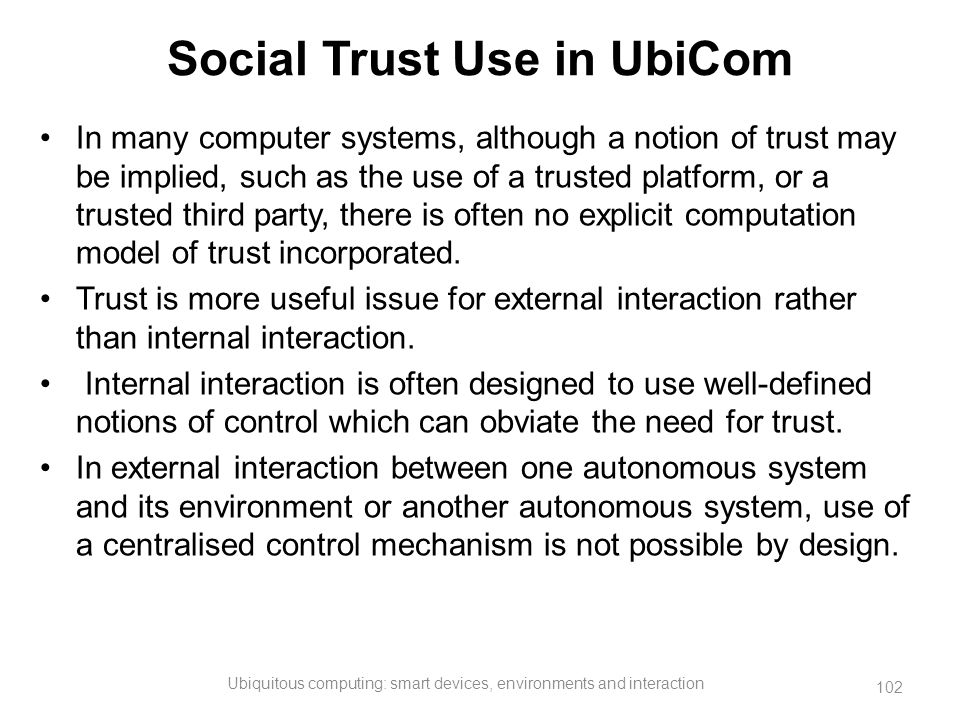 Social Trust Use in UbiCom