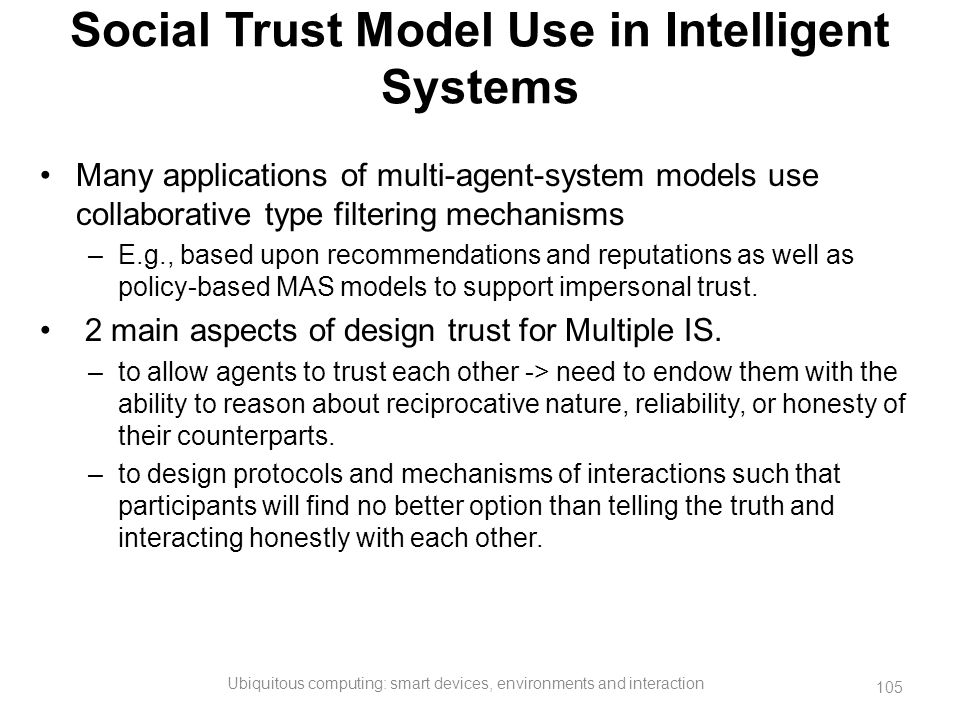 Social Trust Model Use in Intelligent Systems