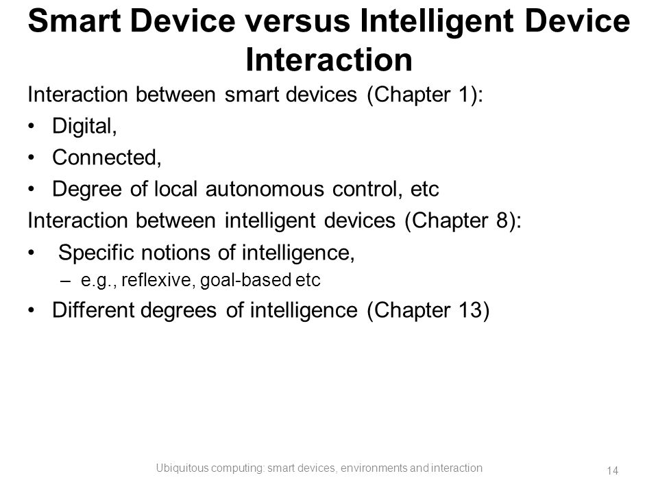 Smart Device versus Intelligent Device Interaction