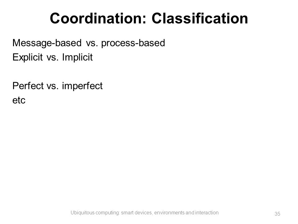 Coordination: Classification