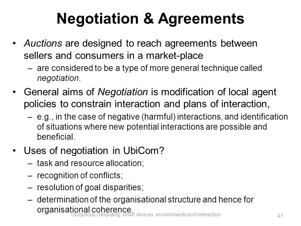 Negotiation & Agreements