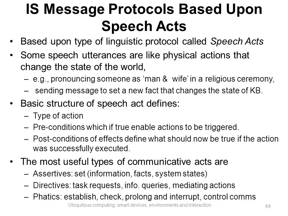 IS Message Protocols Based Upon Speech Acts