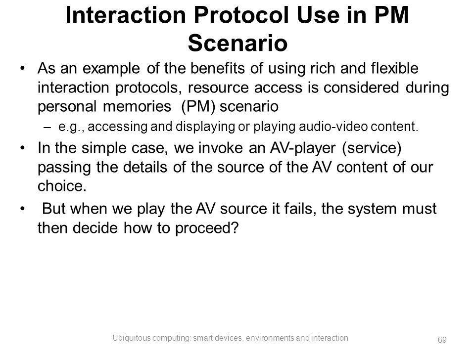 Interaction Protocol Use in PM Scenario