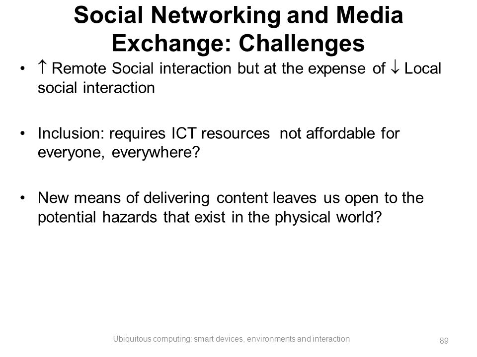 Social Networking and Media Exchange: Challenges