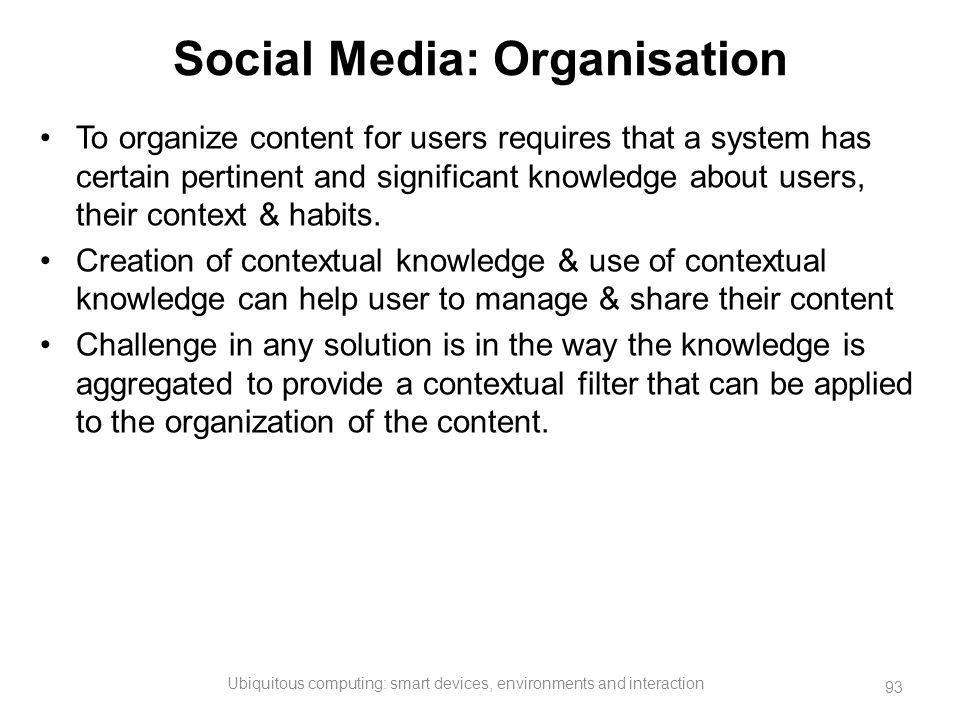Social Media: Organisation