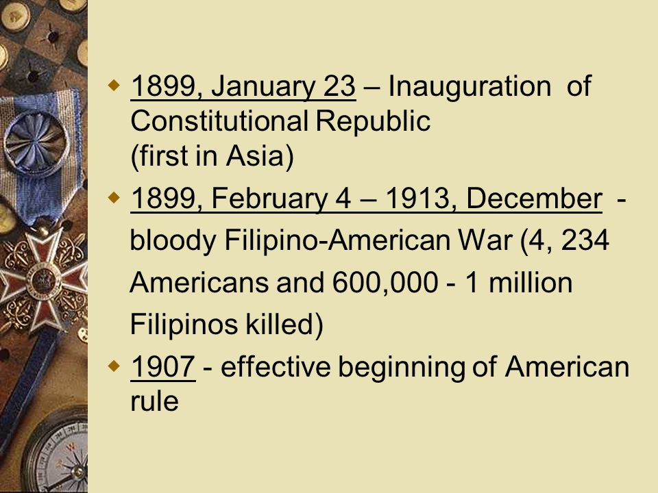 1899, January 23 – Inauguration of Constitutional Republic (first in Asia)