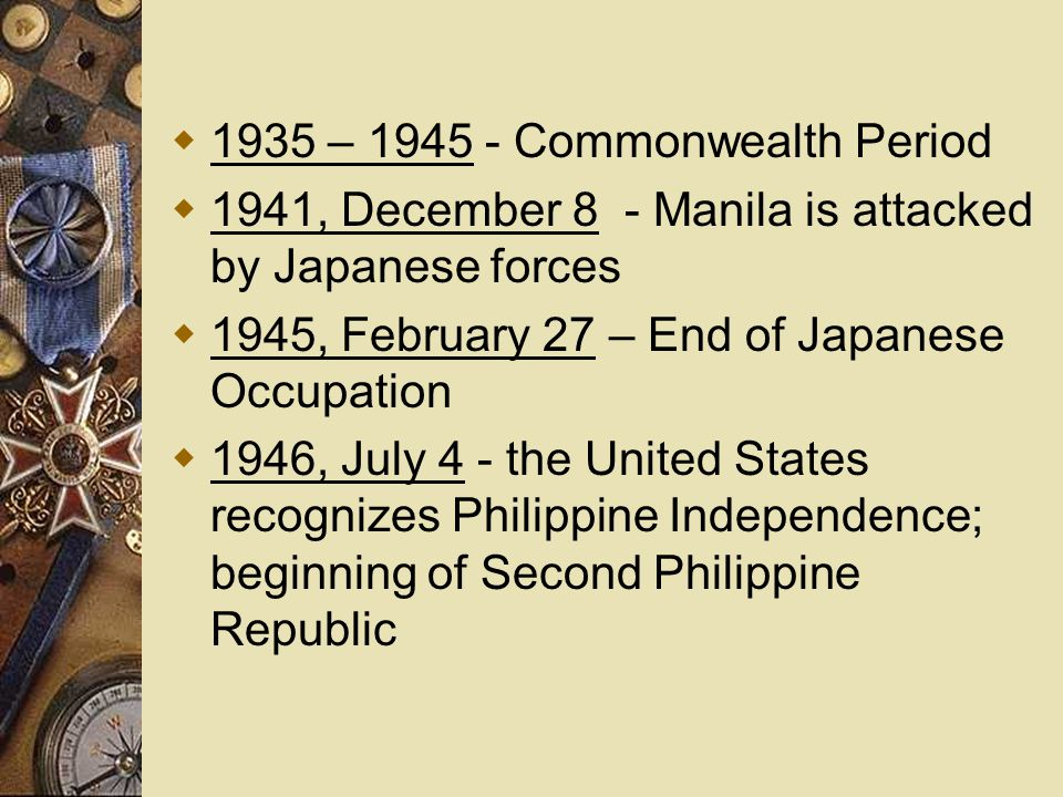 1935 – 1945 - Commonwealth Period