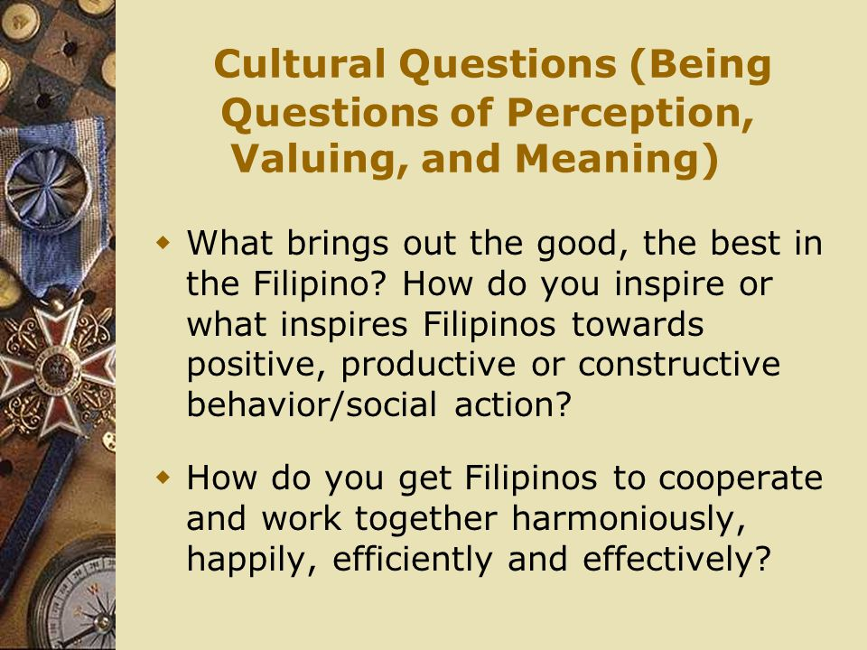 Cultural Questions (Being Questions of Perception, Valuing, and Meaning)