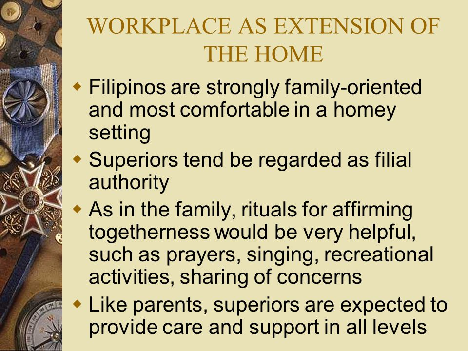 WORKPLACE AS EXTENSION OF THE HOME