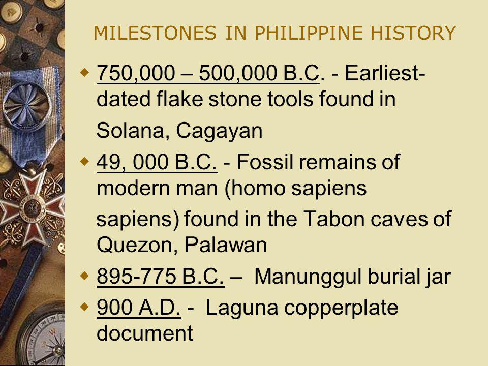 MILESTONES IN PHILIPPINE HISTORY