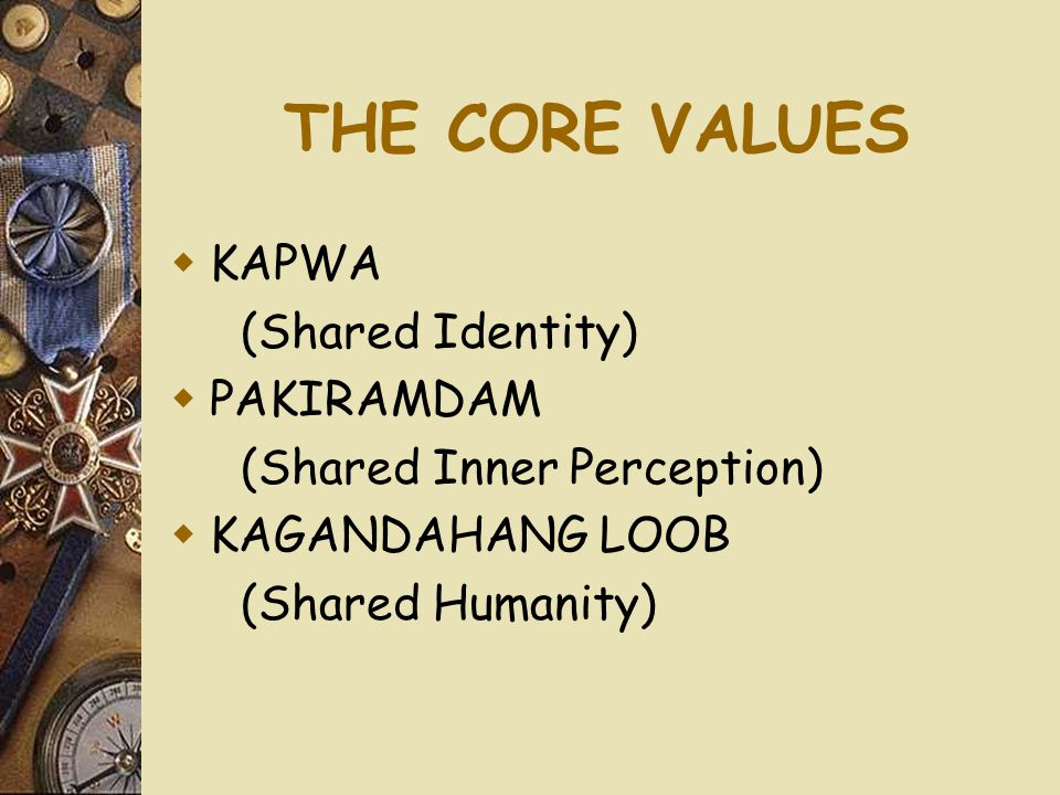 THE CORE VALUES KAPWA (Shared Identity) PAKIRAMDAM