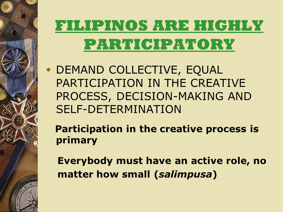 FILIPINOS ARE HIGHLY PARTICIPATORY