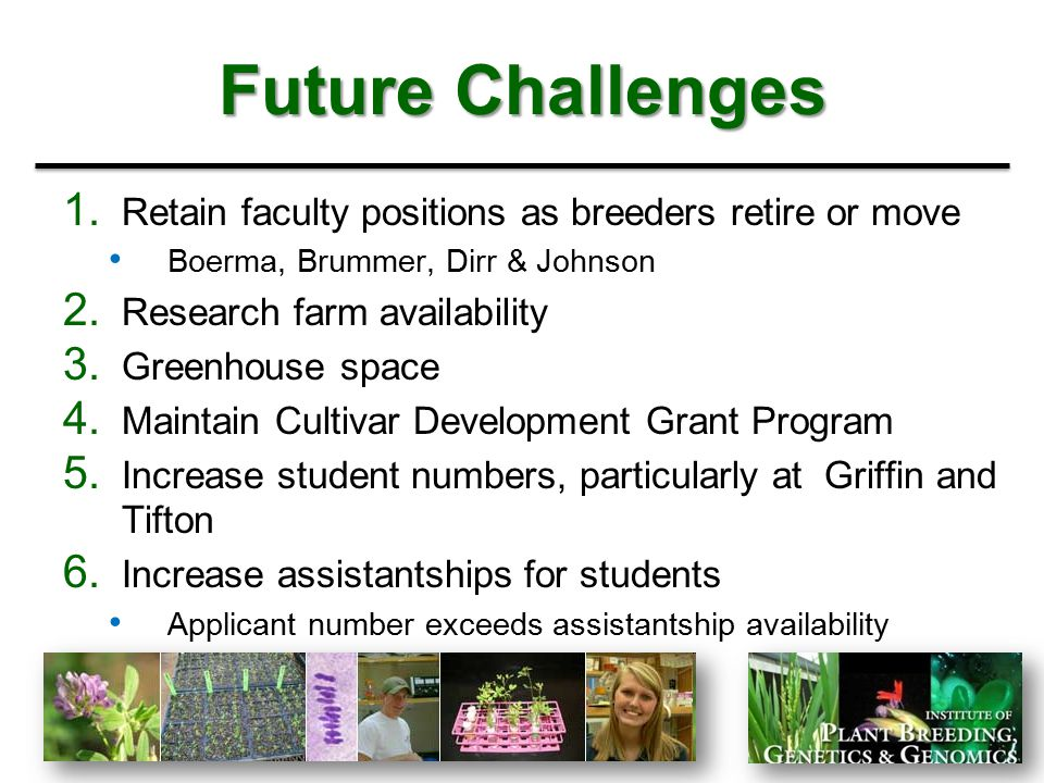 Future Challenges Retain faculty positions as breeders retire or move