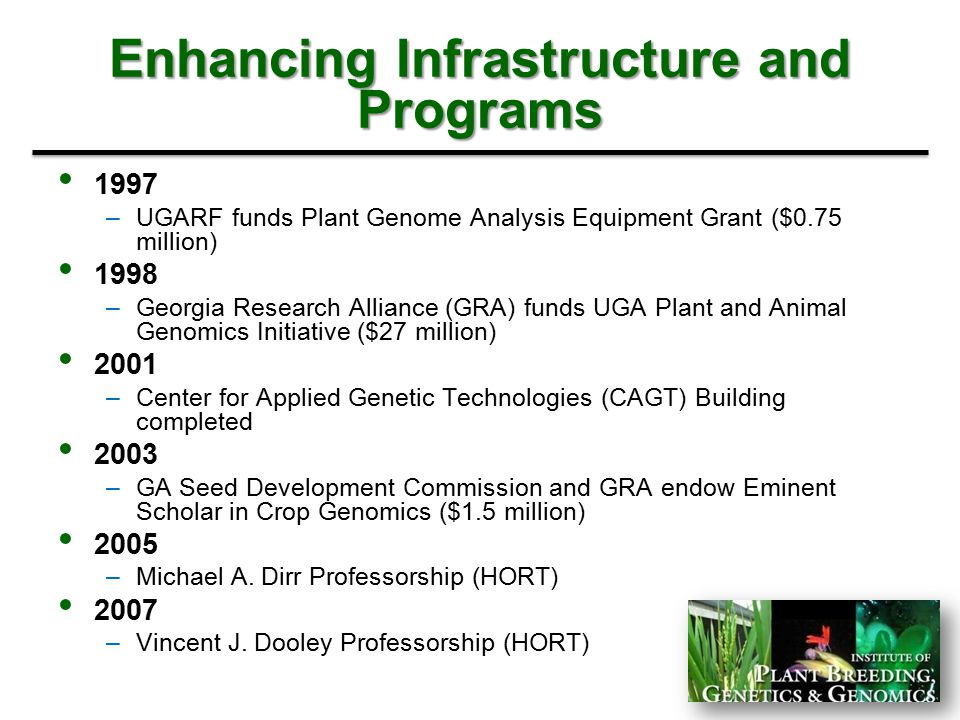 Enhancing Infrastructure and Programs