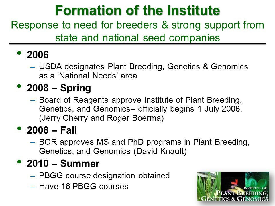 Formation of the Institute Response to need for breeders & strong support from state and national seed companies